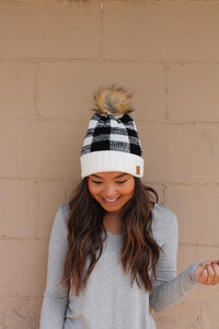 Buffalo Plaid Beanie, Black/Cream