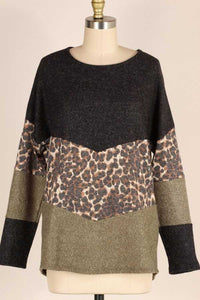 Leopard Print Color Block Top, Olive