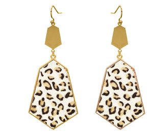 Hexagon Leopard Earrings
