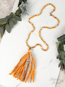 Beaded Necklace with Statement Tassel, Honey