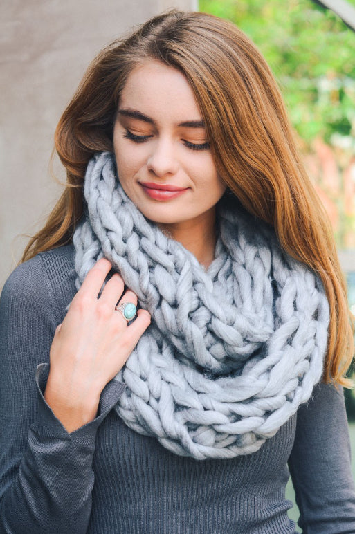 Ultra Soft Chunky Infinity Scarf, Heather Grey