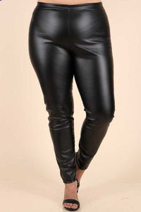 Pleather Leggings, Black Plus Size