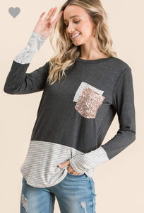 Sequin Pocket Top, Charcoal