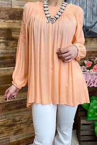 Peach Top with Embroidery Details