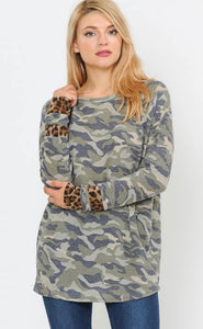 Camo and Leopard Top