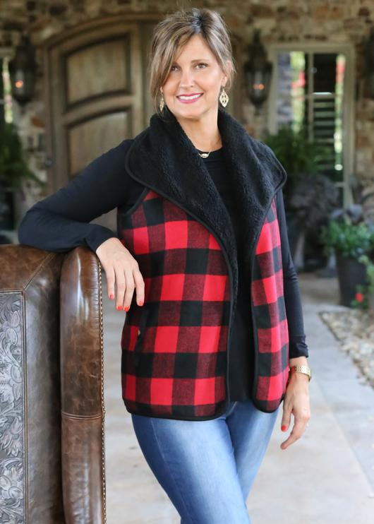 Buffalo Plaid Vest, Red/Black