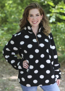 Polka Dot Sherpa, Black/White