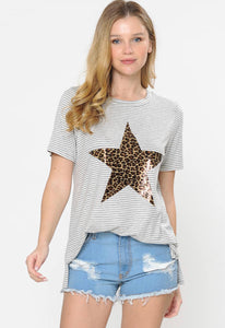 Striped Top with Leopard Star, Grey