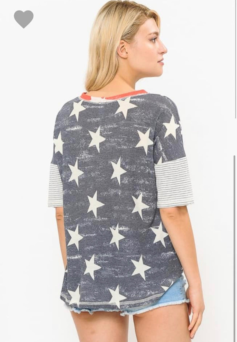 Red and Blue Star Top