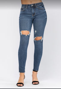 Midrise Judy Blue Jeans with Holes