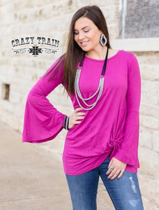 Knot For Long Bell Sleeve Top, Magenta