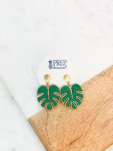 Palm Leaf Thread Dangle Earrings, Green