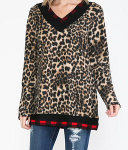 Leopard and Plaid Fleece Top