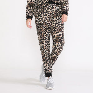 Leopard Fleece Jogger Pants