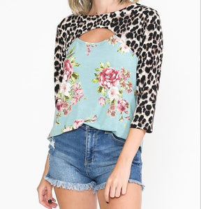 Leopard Floral Cut-Out Top