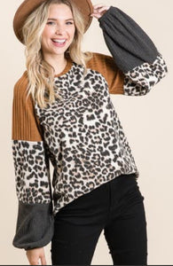 Leopard Mustard Colorblock Top