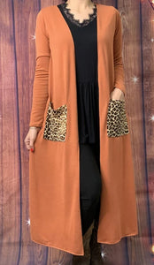 Orange Duster with Leopard Pockets