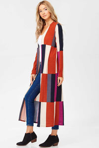 Color Block Long Knit Cardigan