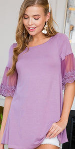 Lavender Top With Lace Sleeves