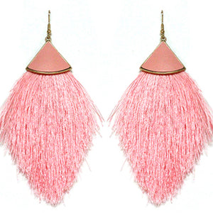 Leather Tassel Earrings, Pink