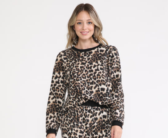 Leopard Fleece Top