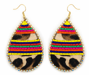 Leopard Fur Earrings with Rainbow Beads