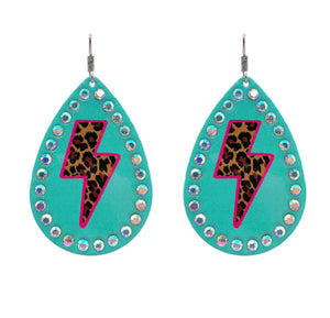 Lightning Leopard Earrings, Turquoise