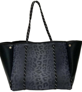 Neoprene Leopard Purse, Black