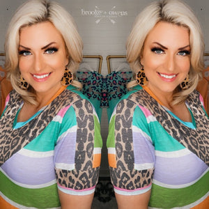 Multi Color Stripe Leopard Top