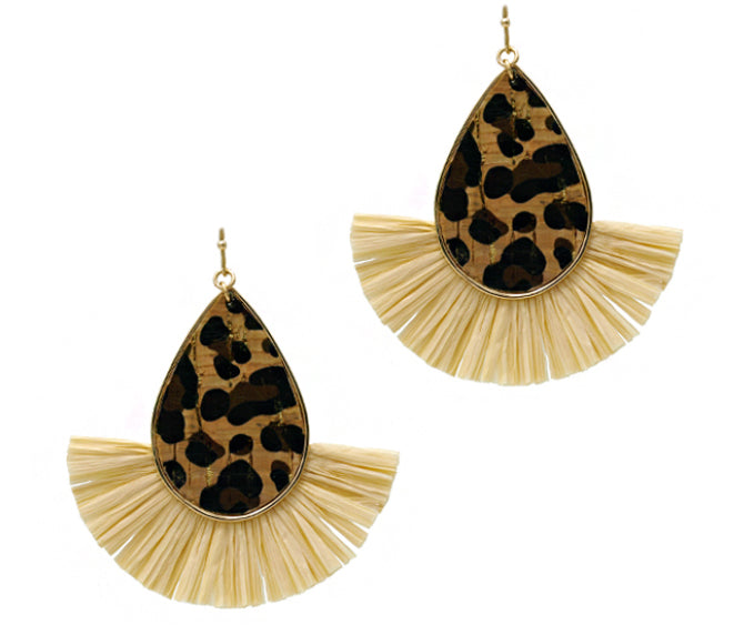 Leopard Print Fan Earrings