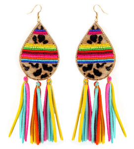 Leopard Tassel Earrings, Multi