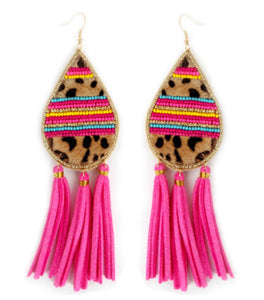 Leopard Tassel Earrings, Pink