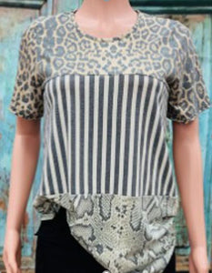 Leopard/Grey Striped and Snake Printed Pattern Block Top