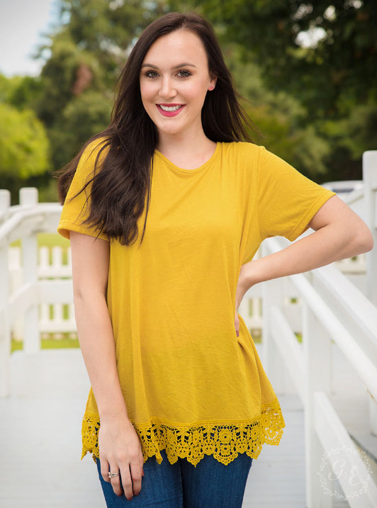 Lace Trim Top, Mustard