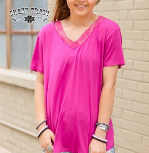 Butter Basic Lace V-Neck, Magenta