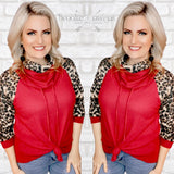 Cowl Neck Waffle Knit Top, Burgundy and Leopard