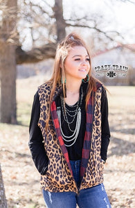 Mountain Momma Vest, Leopard & Buffalo Plaid