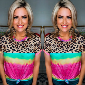 Multi Color Tie Dye and Leopard Top