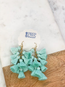 Multi Tassel Dangle Earrings, Mint