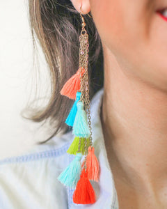 Long Chain Tassel Earrings, Multi