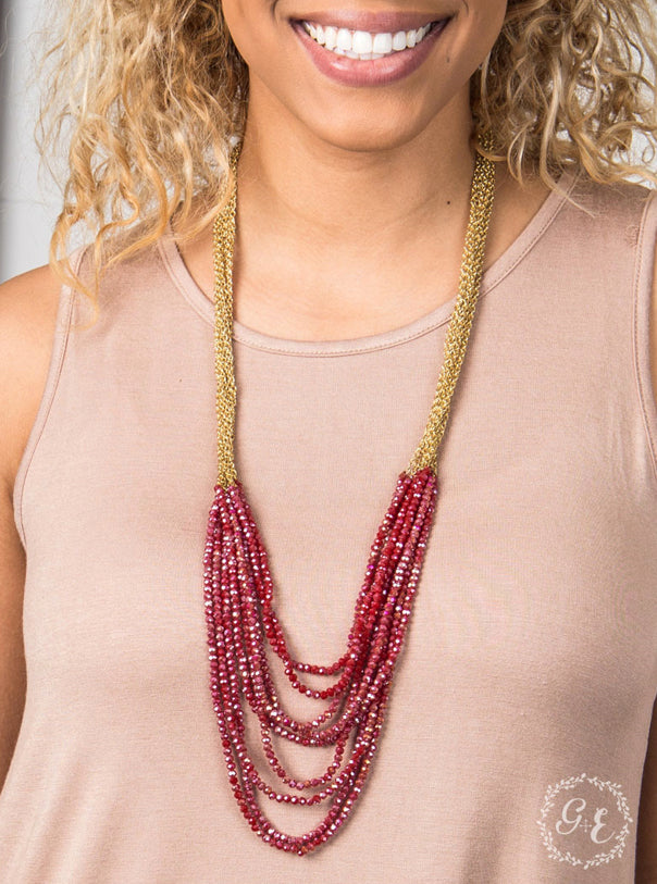Multi Layered Beaded Necklace, Red
