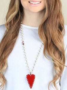 Studded Heart Necklace, Red