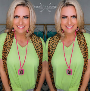 Twist Front V Neck Top, Neon Lime
