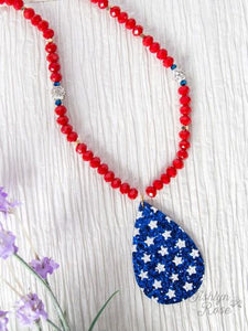 Blue Glitter Teardrop Necklace with Stars