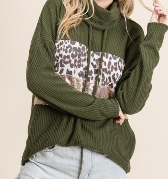 Waffle Knit Top with Leopard and Sequins, Olive