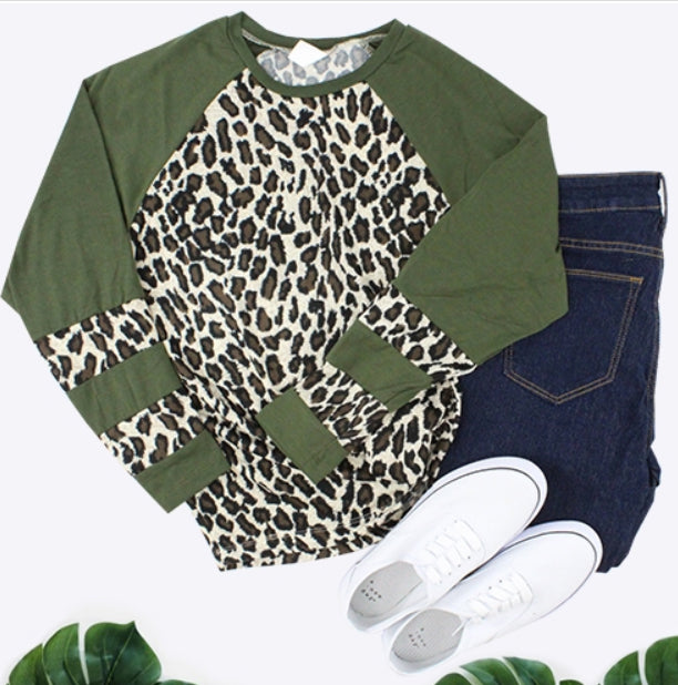 Leopard Top with Stripes, Olive