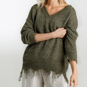 Distressed Sweater, Olive