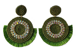 Bling Statement Earrings, Olive