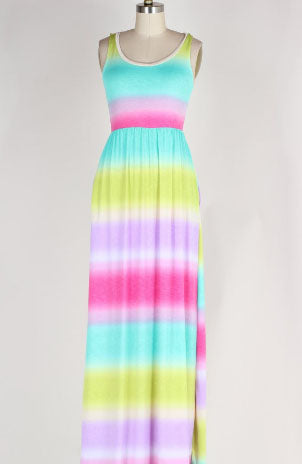Ombre Maxi Dress with Pockets, Multi