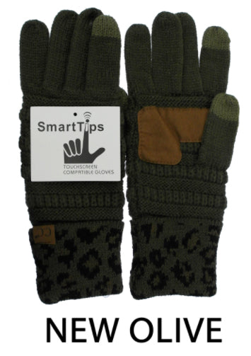 CC Smart Tip Gloves, Olive Leopard